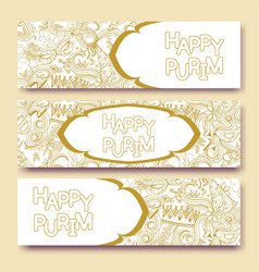 Purim golden banners collection vector