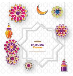 Ramadan kareem concept banner with islamic vector