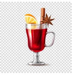 Realistic mulled wine glass orange anise vector