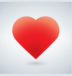 Red heart symbol isolated on white using gradient vector