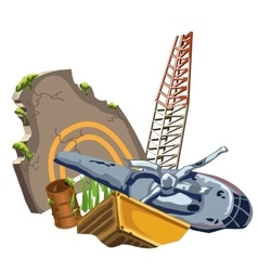 Rusty crashed the plane and equipment vector