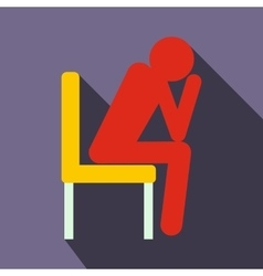 Sad man sitting on chair icon flat style vector image