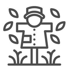 Scarecrow line icon garden doll vector