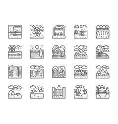 set landscape line icons bridge desert vector image