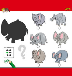 Shadows activity game with elephants vector