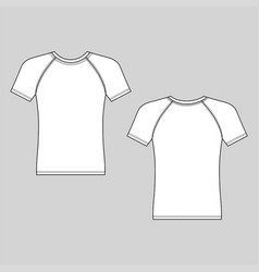short sleeve t-shirt outlined template vector image