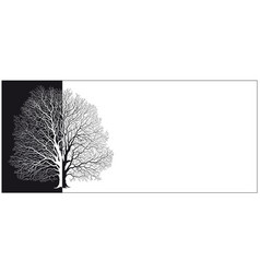 silhouette a tree in black and white vector image