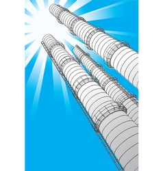Smokestacks on a background a sun vector image