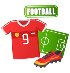 soccer jersey and t-shirt sport shoes cleats vector image