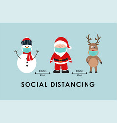 Social distancing with cute christmas characters vector
