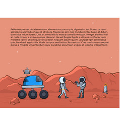 Space rover and astronaut vector