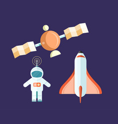 Spaceman and flying satellite with rocket poster vector