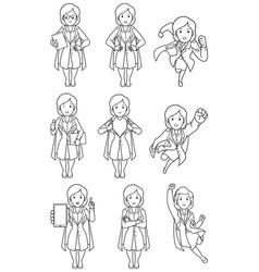 Super doc female line art vector