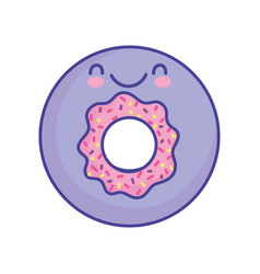 tasty donut dessert cartoon food cute flat style vector image