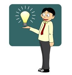 Think big business man presenting big idea vector image