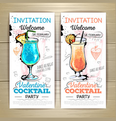 Valentine cocktail party posterInvitation design vector