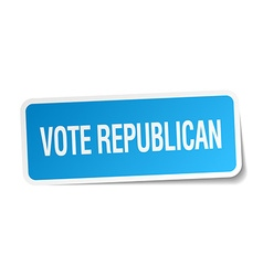 Vote republican blue square sticker isolated on vector