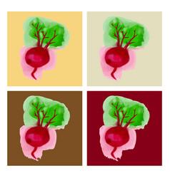 Watercolor beet eco food menu background vector