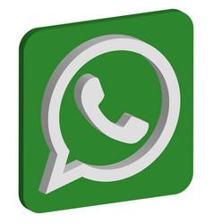 Whatsapp logo isometric icon vector
