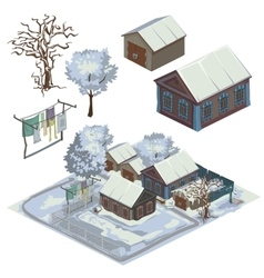 Winter landscape with several snow-covered houses vector image