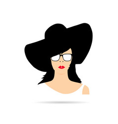 woman head with hat fashion silhouette vector image