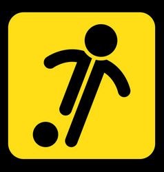 yellow black sign - football soccer player icon vector image