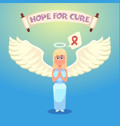 angel wearing pink ribbon breast cancer vector image