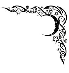 Moon stars border vector image vector image