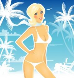 summer women blue vector image vector image