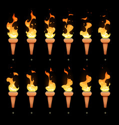 torch animation with cartoon fire blaze sequence vector image