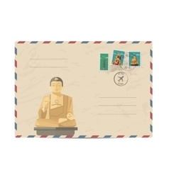 Vintage postal envelope with Taiwan stamps vector image vector image