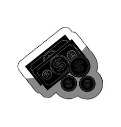 bills dollars with coins isolated icon vector image