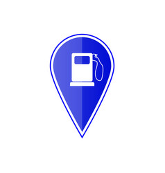 blue map pointer with gas station vector image