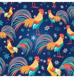 Colorful pattern with roosters vector