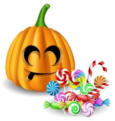 Halloween pumpkin head with candy set vector image vector image