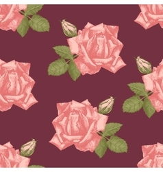 Hand drawn roses seamless vector image