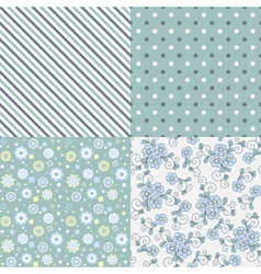 seamless pattern set Flowers lines dots vector image vector image