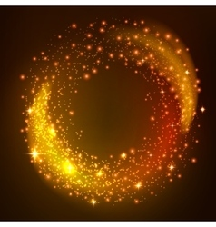 Sparkling gold glitter particles whirl vector image