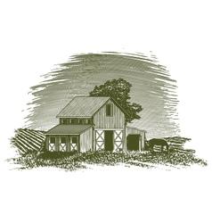 Woodcut Horse Barn vector image vector image