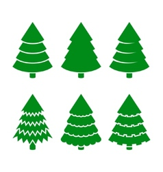 Christmas Trees Icons Set vector image vector image