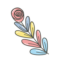Color rose with leaves branch plant vector