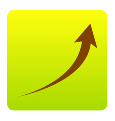 growing arrow sign brown icon at green vector image
