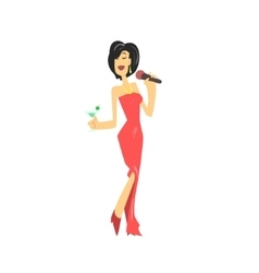 LAdy In Red Dress Singing Karaoke vector image vector image