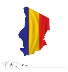 Map of Chad with flag vector image vector image