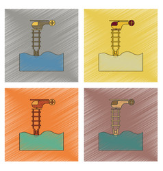 assembly flat shading style icon people in water vector image