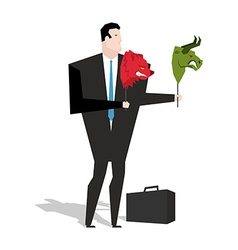 Bear and bull mask in hands of businessman trader vector image vector image