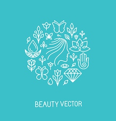 beauty and spa line logo and sign vector image vector image
