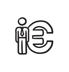 Businessman stands near euro symbol sketch icon vector