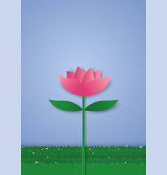 pink lily flower paper art style vector image vector image