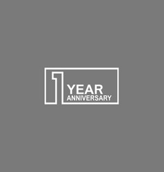 1 year anniversary logotype with white color vector